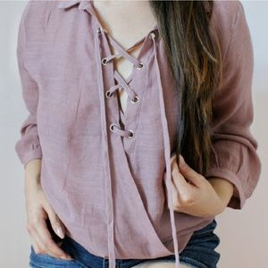 Mauve Lace Up Top